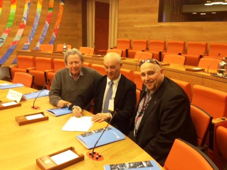 da sx: il delegato nazionale MITEG Ugo Iezzi, il segretario nazionale UNAGA (FNSI) Roberto Zalambani ed il Pres. Arga Lazio Abruzzo Molise (FNSI) Donato Fioriti